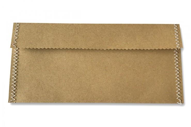 Handgenähter Briefumschlag braun DIN lang