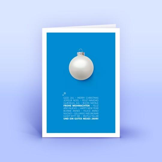 Weihnachtskarte blau mit mehrsprachigem Weihnachtsgruß