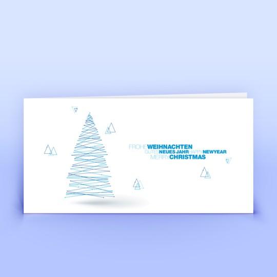 Weihnachtskarten blauer Linienbaum