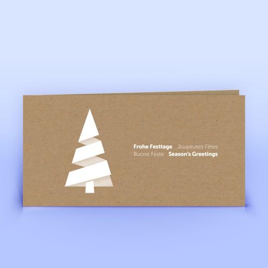 Weihnachtskarten moderner Weihnachtsbaum auf Naturpapier