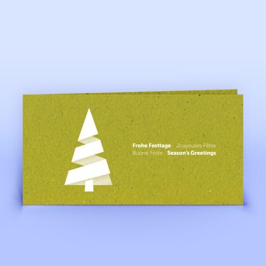 Weihnachtskarte moderner Weihnachtsbaum auf Graspapier