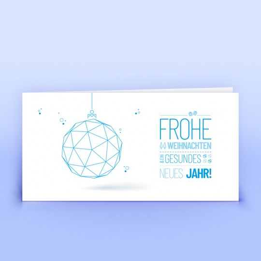 Weihnachtskarten blaue Gitterkugel
