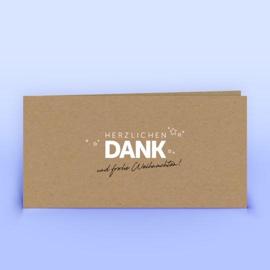 Dankeskarten auf Naturpapier mit Sonderfarbe Weiß