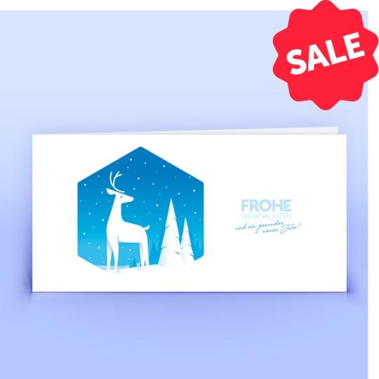 Weihnachtskarten Hirsch blau