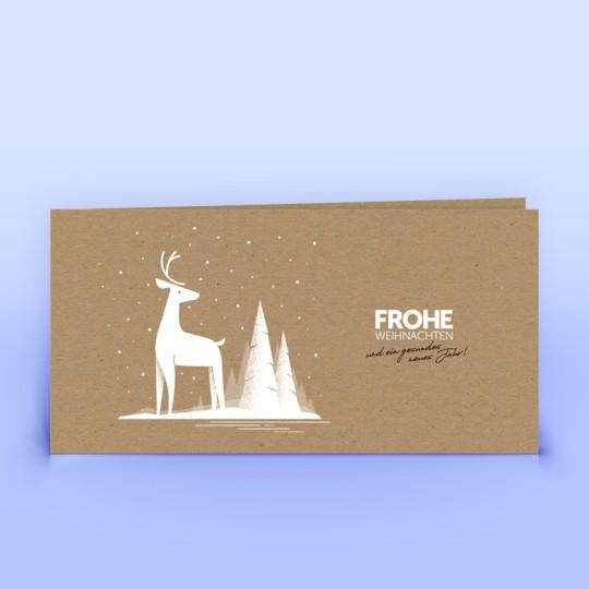 Weihnachtskarten mit Hirsch auf Naturpapier