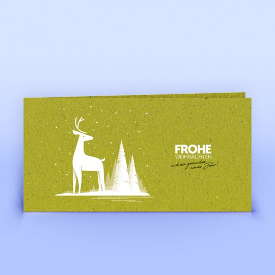Weihnachtskarte Hirsch auf Graspapier