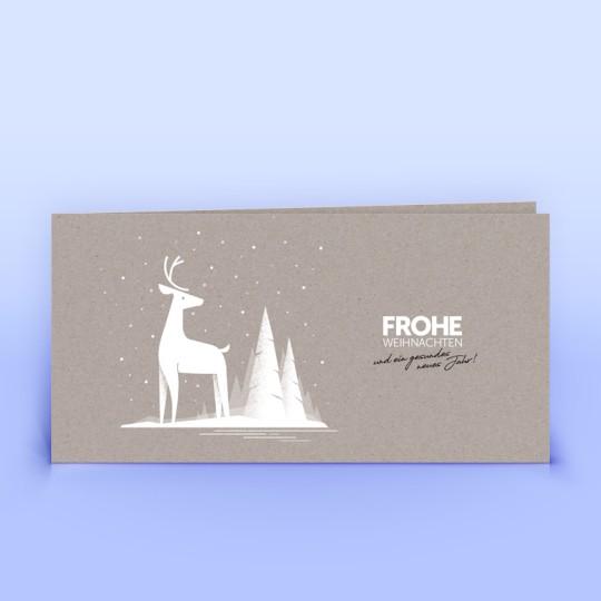 Weihnachtskarten mit Hirsch grauer Recyclingkarton
