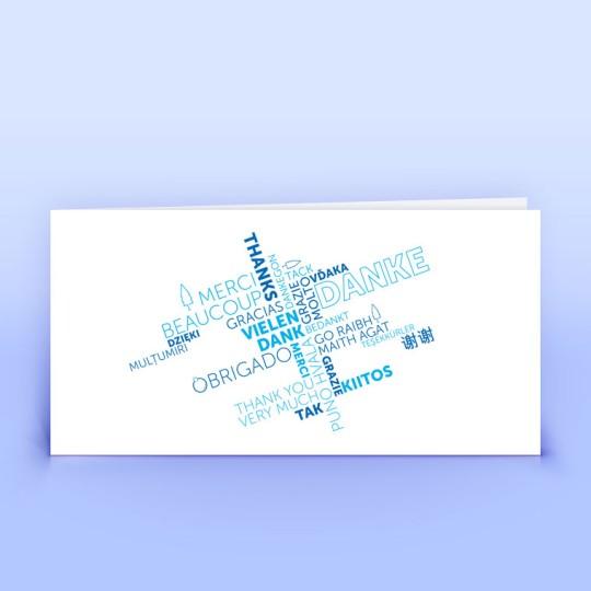 Dankeskarte mit Wordcloud in blau