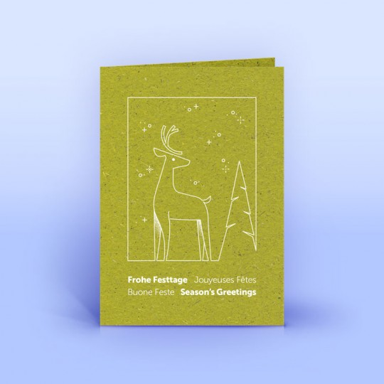 Graspapier Weihnachtskarte mit Hirsch