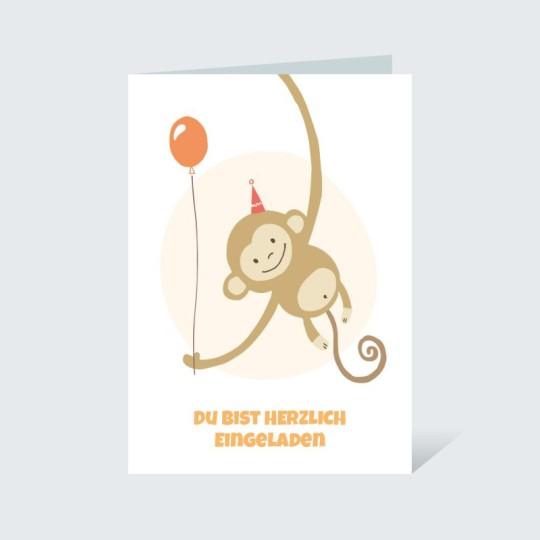 Einladungskarte fröhliches Äffchen Orange
