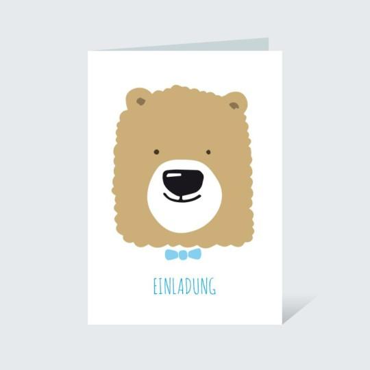 Einladungskarte Bär mit Fliege