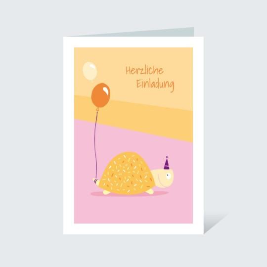 Einladungskarte Schildkröte mit Luftballon Orange