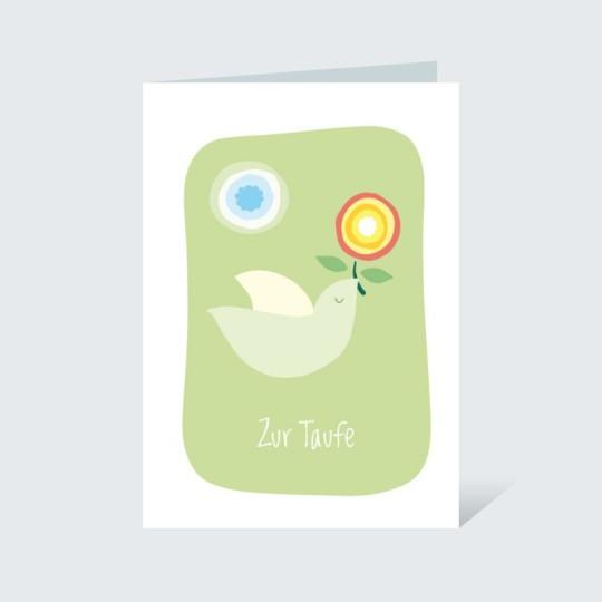 Taufkarte Vögelchen mit Zweig Grün