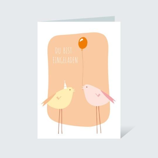 Einladungskarte Vögelchen Orange