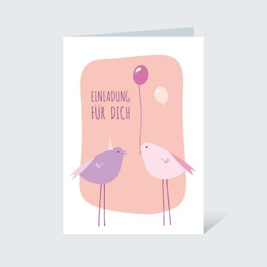 Einladungskarte Vögelchen Rosa