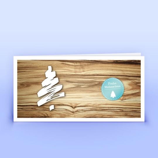 Weihnachtskarten mit aufgedruckter Holzstruktur