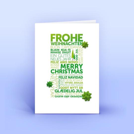 Weihnachtskarte grüne Weihnachtsgrüße international
