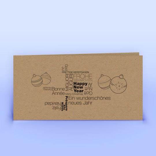 Weihnachtskarten internationale Weihnachtsgrüße auf Naturpapier