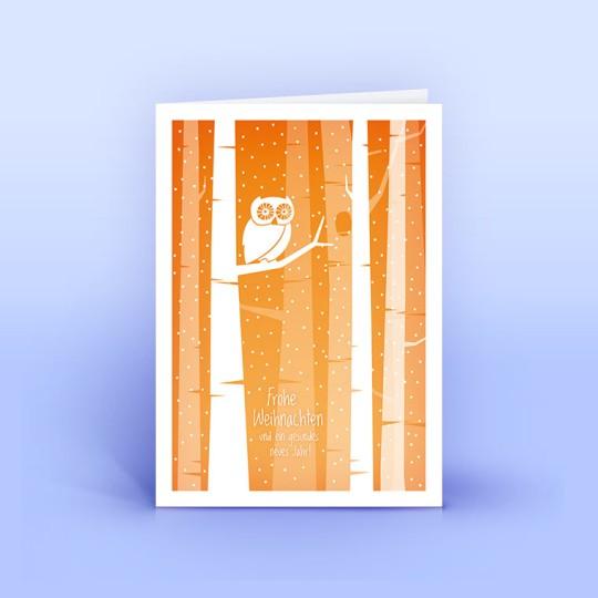 Weihnachtskarte Eule im Walde