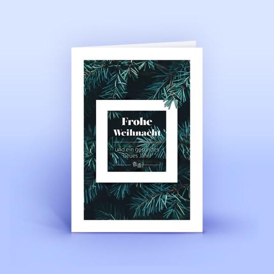 Weihnachtskarte dunkelgrüne Tannenzweige