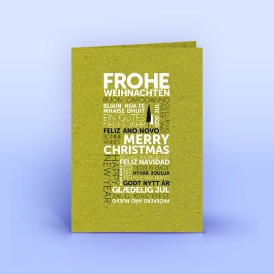 Weihnachtskarte internationale Weihnachtsgrüße auf Graspapier