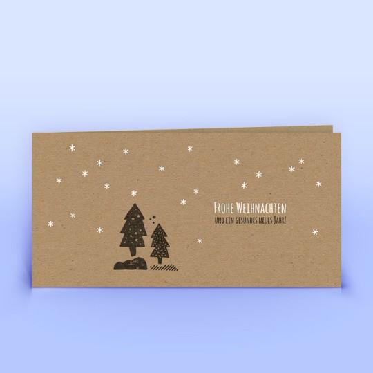 Weihnachtskarten Wald und Sternchen Naturpapier