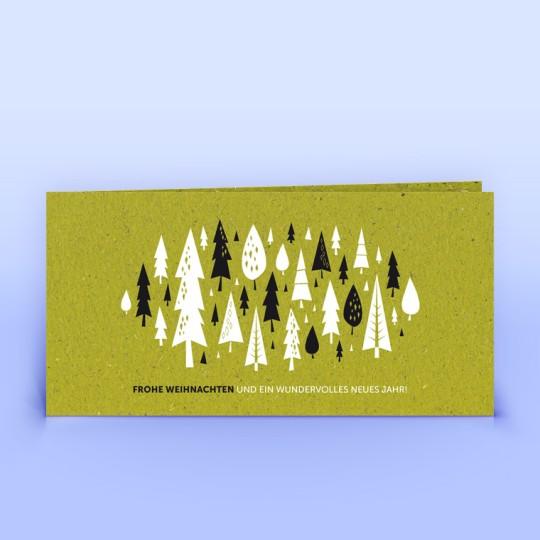 Weihnachtskarte Wald und Weihnachtsgruß auf Graspapier
