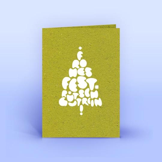 Weihnachtskarte Weihnachtsgrüße auf Graspapier
