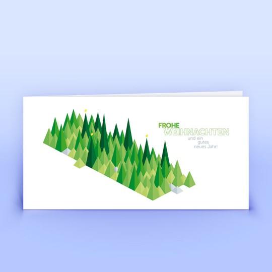 Weihnachtskarten grüne grafische Bäumchen