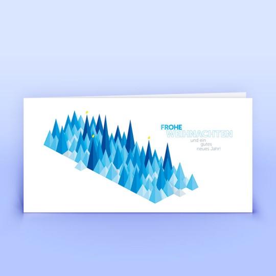 Weihnachtskarten blaue grafische Bäumchen