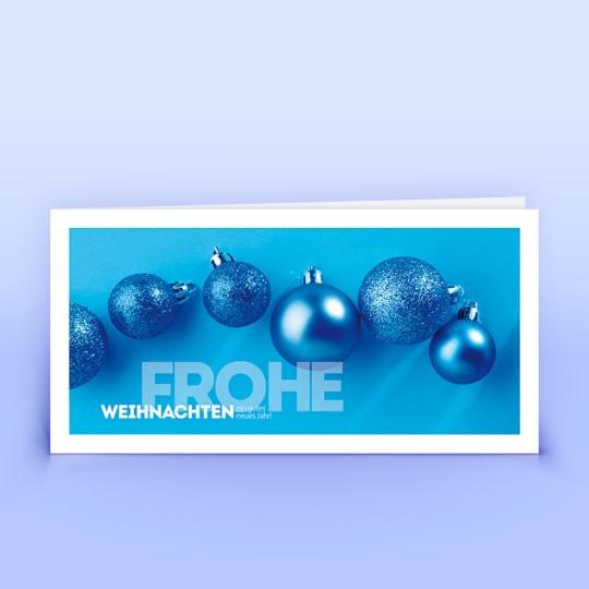 Weihnachtskarten blaue Weihnachtskugeln