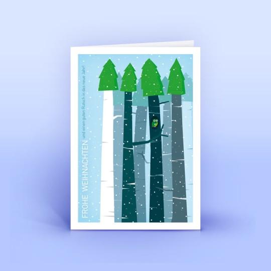 Weihnachtskarte Eule im Wald