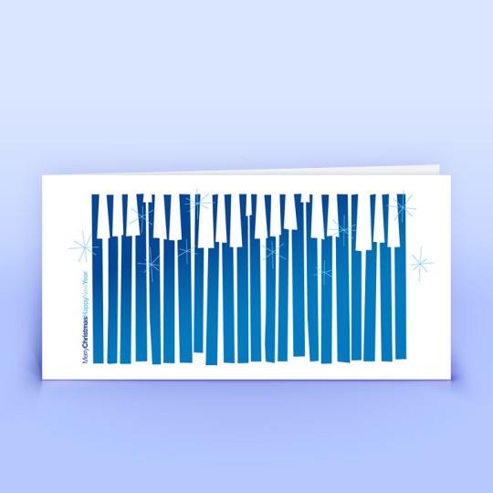 Weihnachtskarten abstrakt mit englischen Grüßen blau