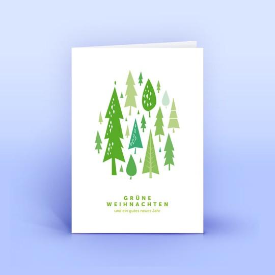 Weihnachtskarte grüne Bäumchen im Wald