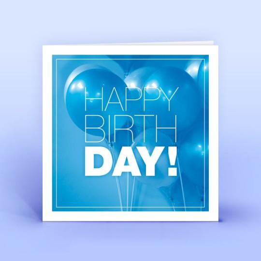 Geburtstagskarte quadratisch - Blaue Ballons