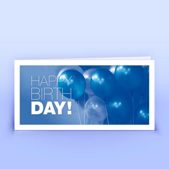 Geburtstagskarte geschäftlich - Blaue Ballons