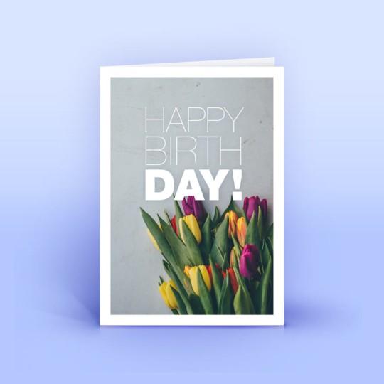 """Geburtstagskarte """"Happy Birthday"""" Rote und gelbe Tulpen"""
