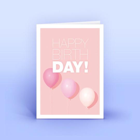 Geburtstagskarte Pink mit 3 Ballons