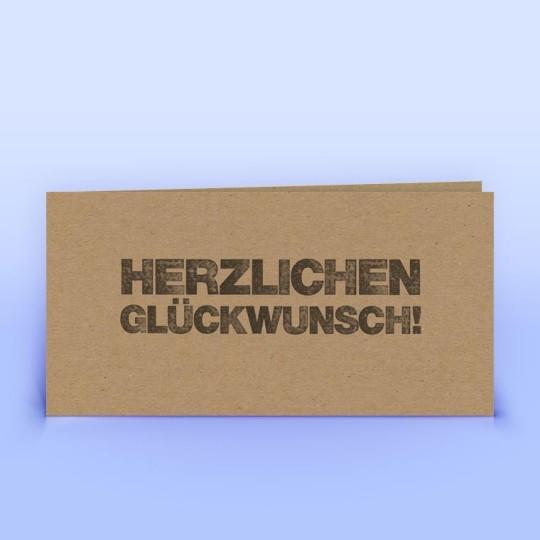 Glückwunschkarte Stempel auf Naturpapier